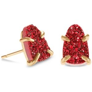 Kendra Scott | Gold Studs Red Drusy Earrings.